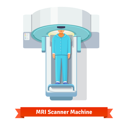 scan: MRI, magnetic resonance imaging machine scanning patient inside. Top view. Flat vector icon. Illustration