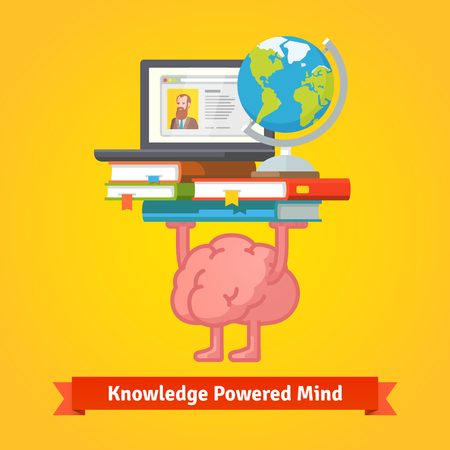 human brain: Fit, smart and trained brain lifting books full of knowledge. Education and studying concept. Flat vector icon.