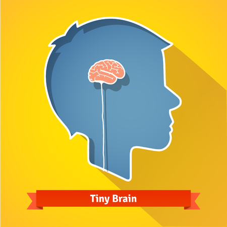 underdeveloped: Tiny small underdeveloped or dried up brain. Flat vector icon. Illustration