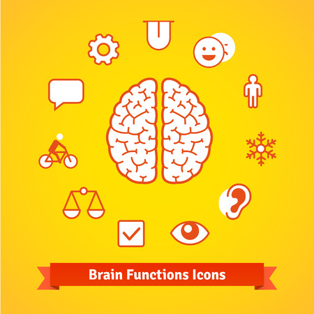 brain function: Brain function icons set. Flat colourless vector. Illustration