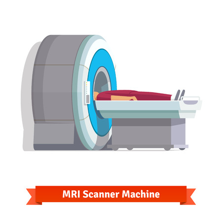 xray machine: MRI, magnetic resonance imaging machine scanning patient inside. Side view. Flat vector illustration. Illustration