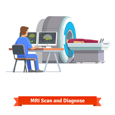Doctor looking at results of patient brain scan on the monitor screens in front of MRI machine with man lying down. Flat vector illustration.