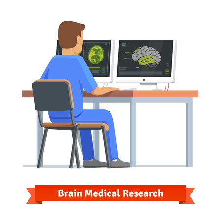 Doctor looking at results of MRI brain scan on a computer screens. Medical research and diagnosis. Flat vector illustration. Çizim
