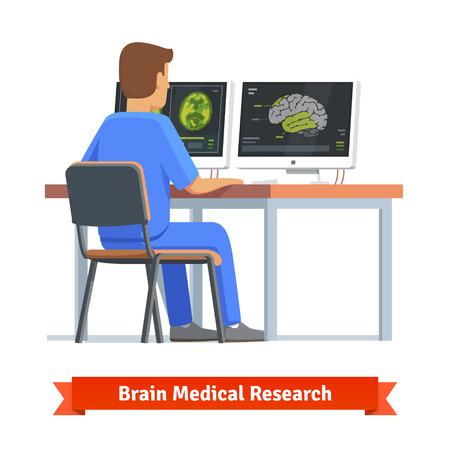 doctor: Médico en busca de resultados de RMN cerebral en un pantallas de ordenador. La investigación médica y el diagnóstico. ilustración vectorial plana.