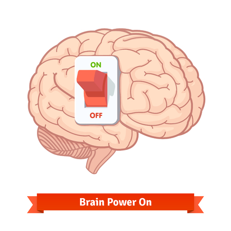 brain power: Brain power switch on. Strong mind concept. Flat vector icon.