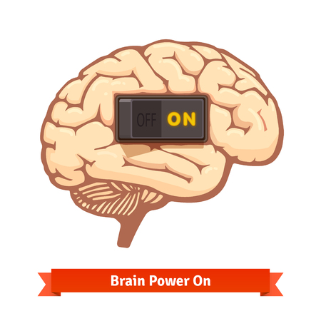mind power: Brain power switch on. Strong mind concept. Flat vector icon.