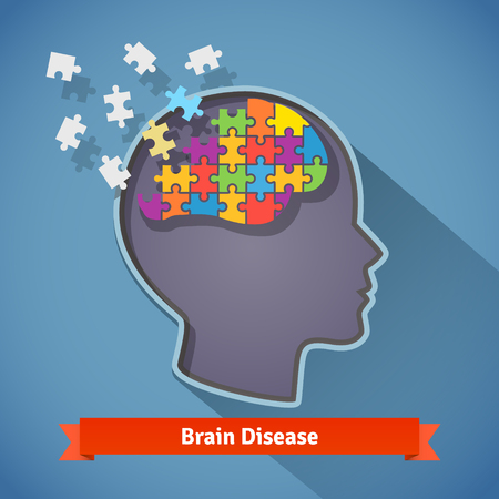 알츠하이머 뇌 질환, 인간의 뇌, 기억 상실, 정신적 문제의 개념을 산산조각. 플랫 스타일 아이콘입니다.