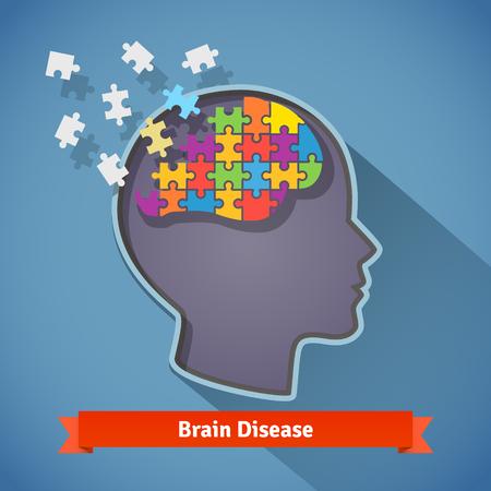 mujer reflexionando: Enfermedad cerebral Alzheimer, rompiendo cerebro humano, pérdida de memoria y problemas mentales concepto. Icono de estilo Flat. Vectores