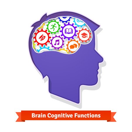 functions: Brain functions concept. Human head full of cogs. Vector icon.