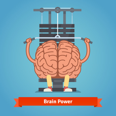 workout gym: Athletic and fit brain doing heavy weight training. Training mind powerful. Flat vector concept illustration.