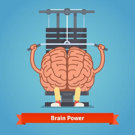 cerebro humano: Athletic y el cerebro en forma haciendo entrenamiento con pesas pesadas. Mente poderosa Formación. Ilustración del concepto de plano vectorial. Vectores