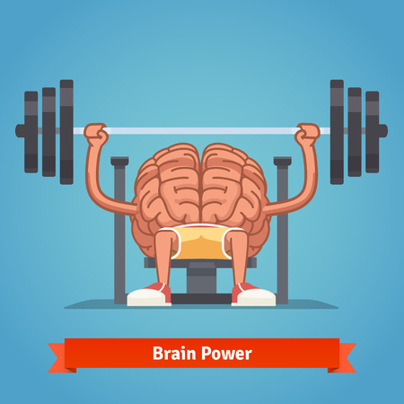 train cartoon: Athletic and fit brain pumping up mind muscles on bench press. Training powerful and smart mentality. Flat vector concept illustration.