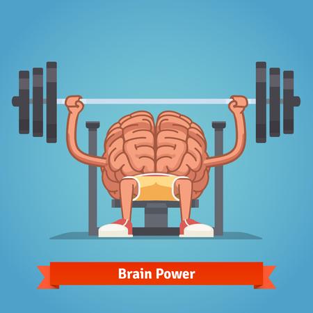 Athletic y el cerebro en forma bombeo de los músculos de la mente en el banco de prensa. El entrenamiento de gran alcance e inteligente mentalidad. Ilustración del concepto de plano vectorial. Ilustración de vector