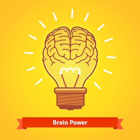 powers: Brain lights up with powerful idea like a bulb. Brain power concept. Flat vector icon. Illustration