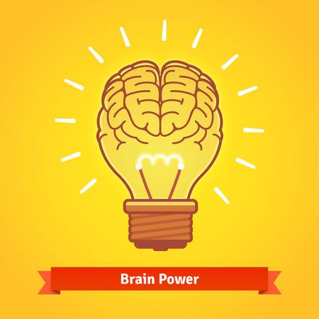 Brain verlicht met krachtige idee als een gloeilamp. Hersenen macht concept. Flat vector icon. Stock Illustratie