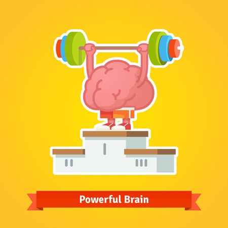 trained: Strong brain lifting weary barbell takes first place on the winning pedestal. Flat style vector icon. Illustration