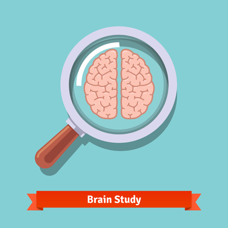 magnification icon: Brain research and education concept. Zooming magnifying glass. Flat vector illustration.