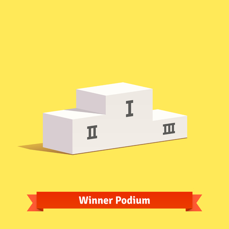 winner podium: White empty winner podium template with place numbers on it. Flat style  Illustration