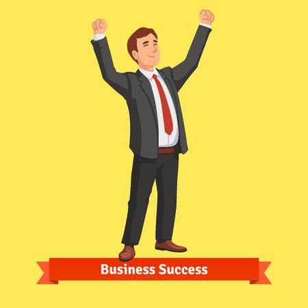 excited: Businessman celebrating success or victory. Flat style vector illustration.
