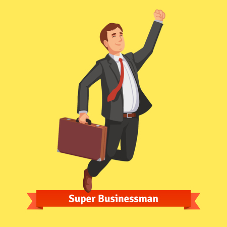 happy work: Businessman with suitcase celebrating his success jumping with his arm up. Flat style vector illustration. Illustration
