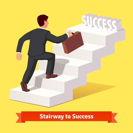 Businessman in black suit with suitcase climbing the staircase of success. Flat style vector illustration. Stock Illustratie