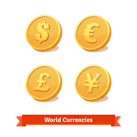 currency symbol: Main currencies symbols represented as shiny gold coins. Vector icons set. Illustration