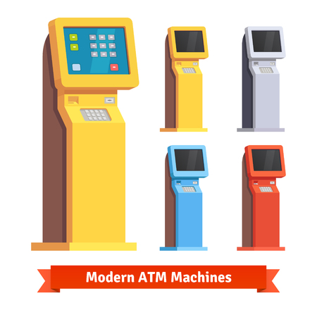 service icon: Modern teller ATM machine. Flat style vector illustration.