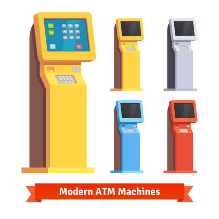 business service: Modern teller ATM machine. Flat style vector illustration.