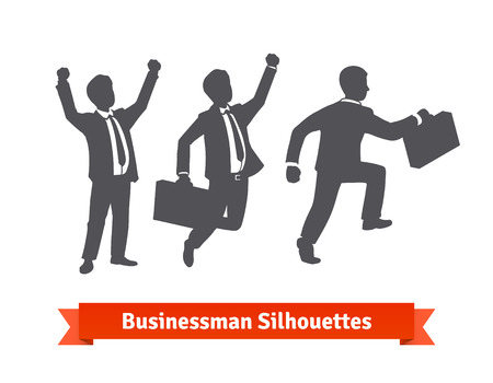 career job: Businessman silhouettes. Happy celebrating and stepping up. Vector icons.
