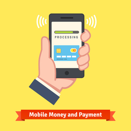 man at the phone: Mobile banking concept. Man hand holding a phone with payment app processing wireless transaction. Flat style vector illustration.