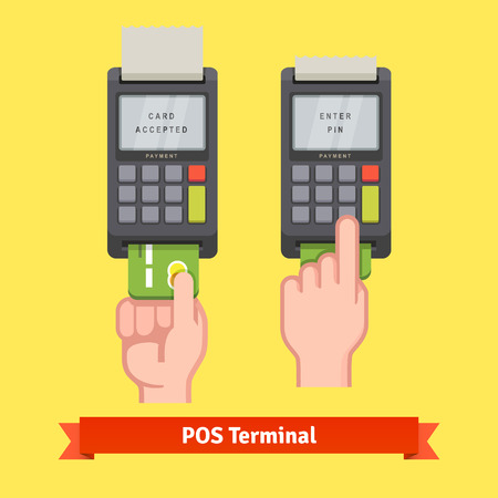 terminal: Hand inserting credit card to a POS terminal, entering pin code and printing receipt. Flat style vector icon.