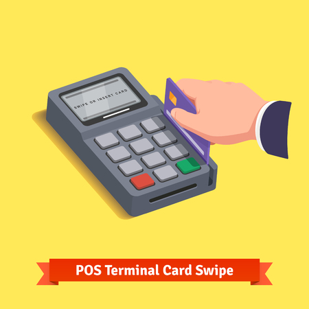 swipe: POS terminal transaction. Hand swiping a credit card. Flat style vector icon.