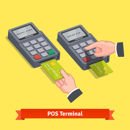 Hand inserting credit card to a POS terminal, entering pin code and printing receipt. Flat style isometric vector icon.