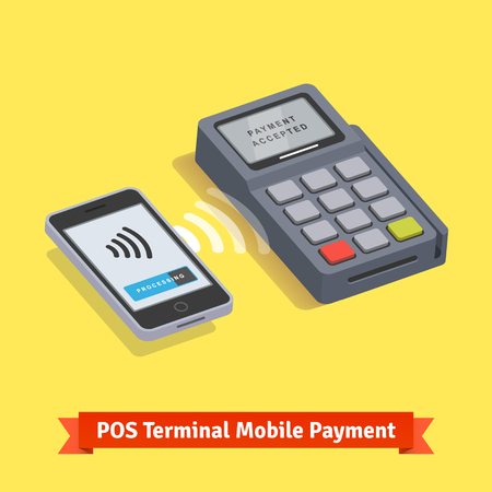 terminals: POS terminal wireless mobile smartphone payment transaction. Flat style vector icon.