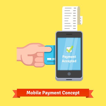 inserting: Mobile payment concept. Man hand inserting credit card to a phone printing paper receipt. Flat style vector illustration.