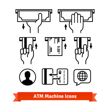 atm card: ATM machine vector icons set. Hands with credit cards, cash. Illustration