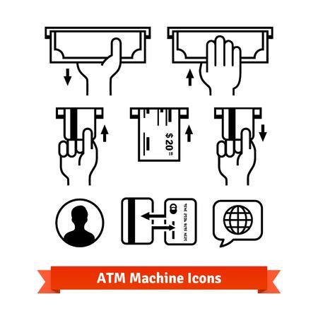 cash: Iconos del vector de la máquina ATM. Manos con las tarjetas de crédito, dinero en efectivo.