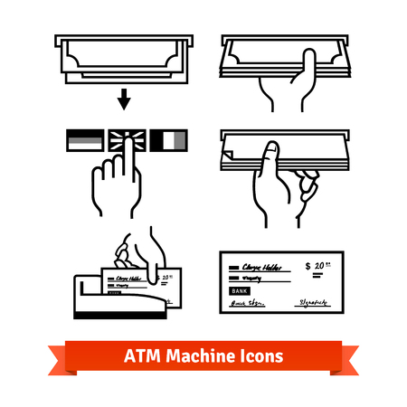 ATM machine vector icons set. Hands with cash and checks.