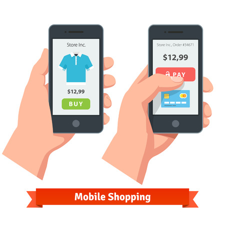 hand holding smart phone: Mobile smartphone ecommerce online shopping and payment. Flat style vector icons. Illustration