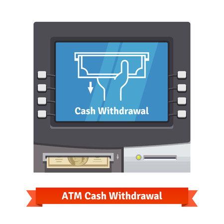 ATM machine with current operation icon on the screen and dollar banknotes sticking out of a slot. Hand taking banknote pictogram. Flat style vector illustration.