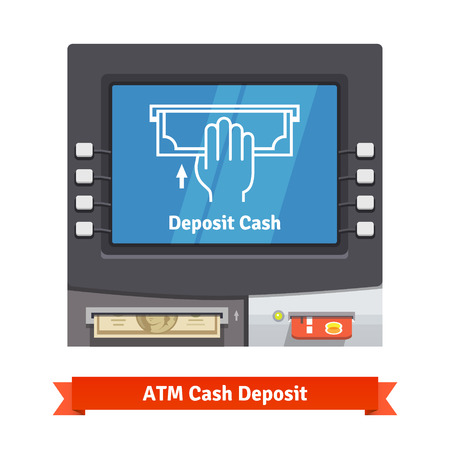 inserted: ATM machine with current operation icon on the screen and dollar banknotes inserted to a slot. Hand placing banknote pictogram. Flat style vector illustration.