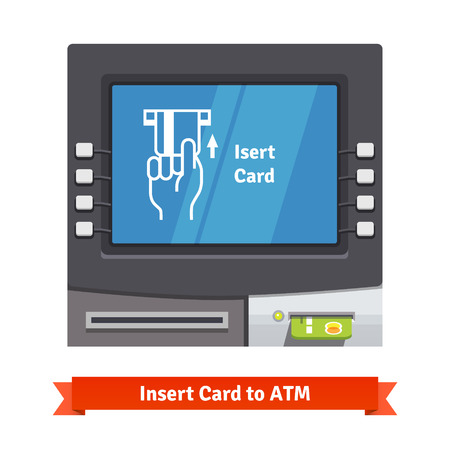 inserting: ATM machine with current operation icon on the screen. Hand inserting credit card pictogram. Flat style vector illustration.