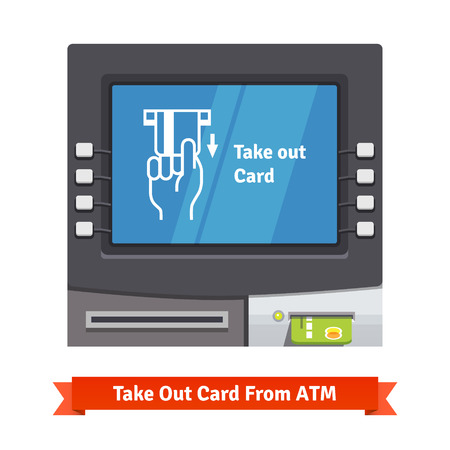 current: ATM machine with current operation icon on the screen. Hand taking credit card out pictogram. Flat style vector illustration. Illustration