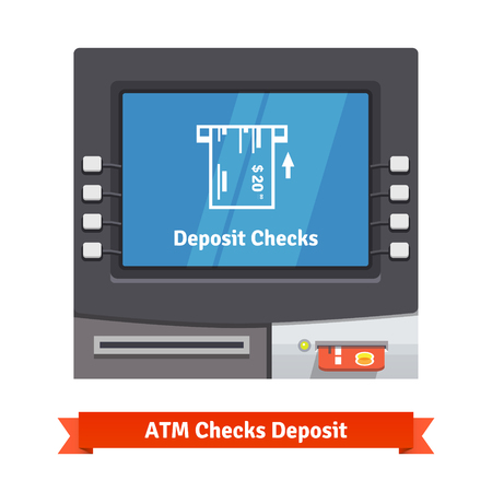 check out: ATM teller machine with current operation icon on the screen. Bank check placed to a slot pictogram. Flat style vector illustration.