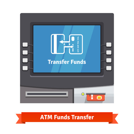 funds: ATM machine with current operation icon on the screen. Transfer funds depicted as two exchanging credit cards pictogram. Flat style vector illustration.