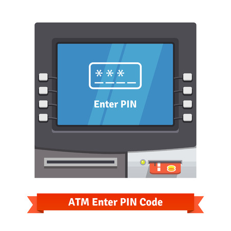 teller: ATM machine with current operation icon on the screen. Enter PIN code pictogram. Flat style vector illustration. Illustration