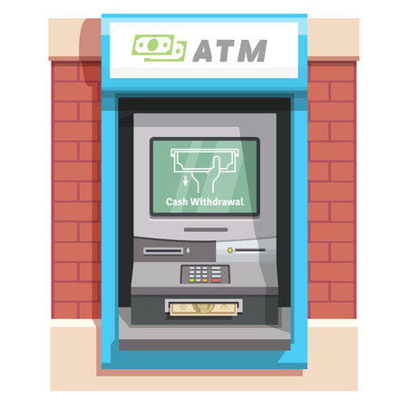 teller: Street ATM teller machine with current operation icon on the screen and dollar banknotes sticking out of a slot. Hand taking banknote pictogram. Flat style vector illustration. Illustration