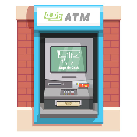 inserted: Street ATM teller machine with current operation icon on the screen and dollar banknotes inserted to a slot. Hand placing banknote pictogram. Flat style vector illustration.