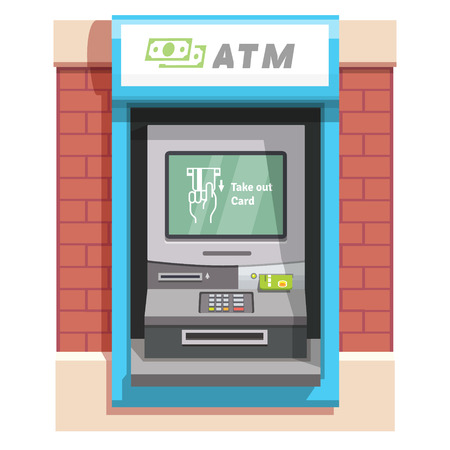 stick out: Street ATM teller machine with current operation icon on the screen. Hand taking credit card out pictogram. Flat style vector illustration.