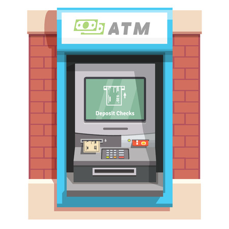 bank account: Street ATM teller machine with current operation icon on the screen. Bank check placed to a slot pictogram. Flat style vector illustration.